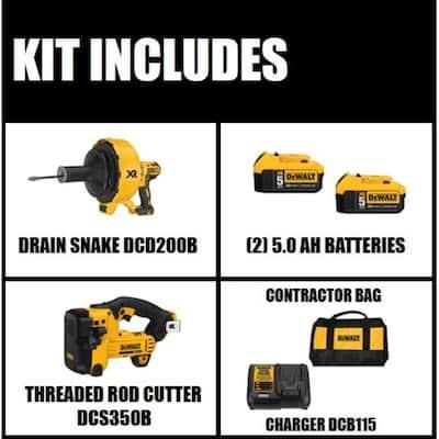 20-Volt MAX Cordless Brushless Drain Snake, Cordless Threaded Rod Cutter & (2) 20-Volt 5.0Ah Batteries