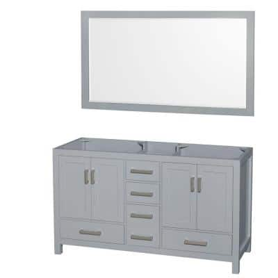 Sheffield 60 in. Vanity Cabinet with Mirror in Gray