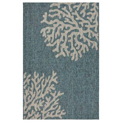 Captiva Blue / Gray 5 ft. x 7 ft. Rectangle Indoor/Outdoor Area Rug