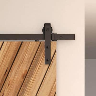 Black Solid Steel Sliding Rolling Barn Door Hardware 8 ft. Kit for Single Wood Doors