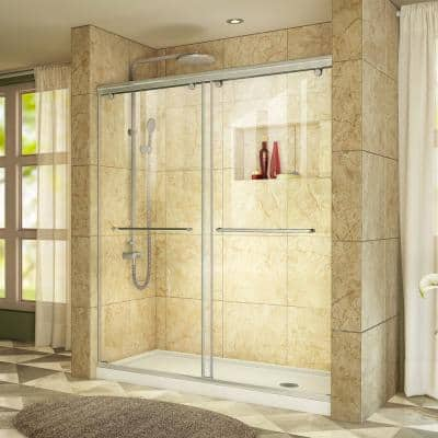 Charisma 32 in. x 60 in. x 78.75 in. Semi-Frameless Sliding Shower Door in Brushed Nickel and Right Drain White Base