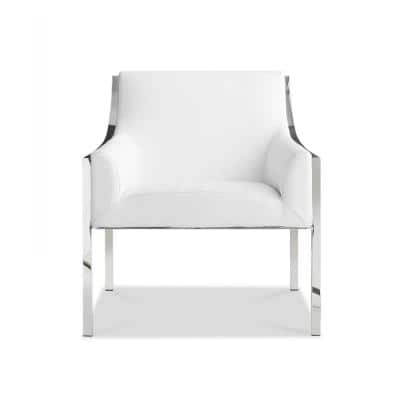 Danielle White Stainless Steel Armed Chair