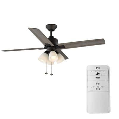 Malone 54 in. Oil Rubbed Bronze LED Smart Ceiling Fan with Light Kit and Remote Works with Google Assistant and Alexa