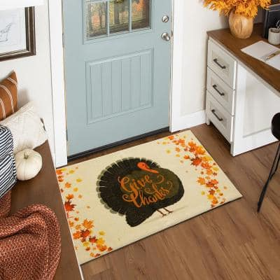 GIVE THANKS TURKEY CREAM 2 ft. 6 in. x 4 ft. 2 in. Scatter Area Rug