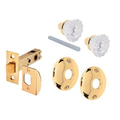 Fluted Glass Door Knob Passage Set, 2 in. Outside Diameter, Brass Plated, Indoor Use