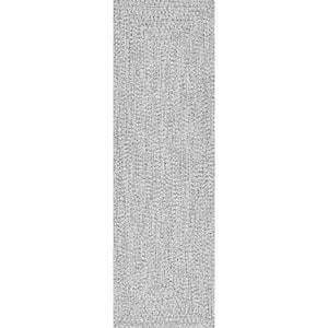 Lefebvre Casual Braided Salt & Pepper 3 ft. x 14 ft. Indoor/Outdoor Runner