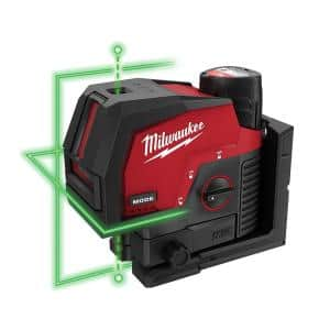 M12 12-Volt Lithium-Ion Cordless Green 125 ft. Cross Line and Plumb Points Laser Level Kit with 3.0 Ah Battery