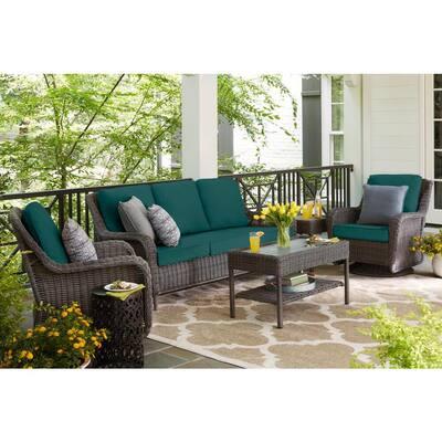 Cambridge Gray Wicker Outdoor Patio Sofa with CushionGuard Malachite Green Cushions