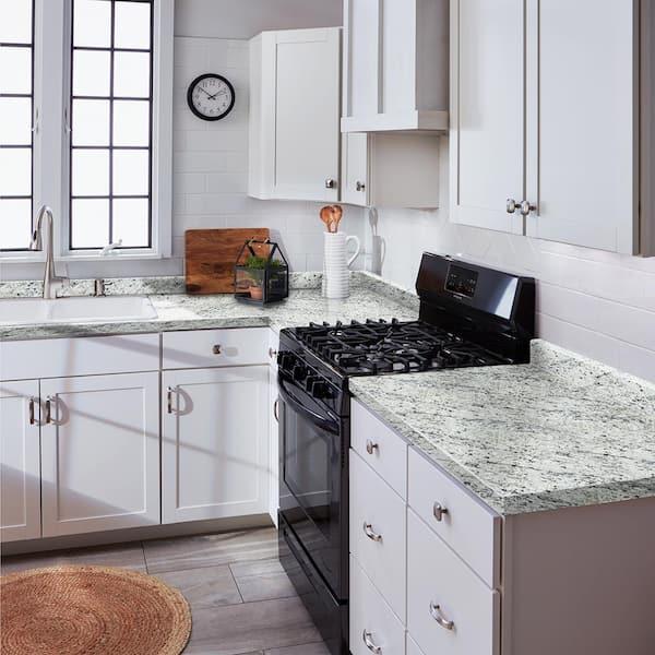 Hampton Bay 6 Ft Cream Laminate Countertop With Eased Edge In White Ice Granite Backsplash 011349010609476 The Home Depot