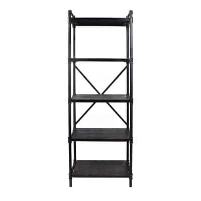 Driscoe 71 in. Grey Metal 5-Shelf Etagere Bookcase with Open Back