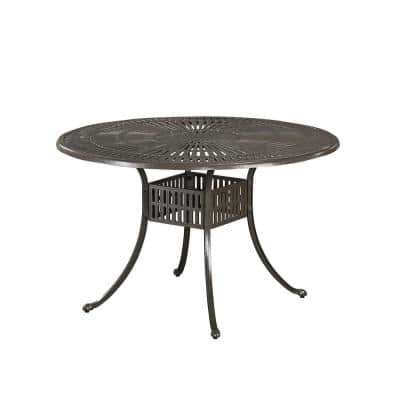 Grenada Taupe Tan 48 in. Cast Aluminum Round Outdoor Dining Table