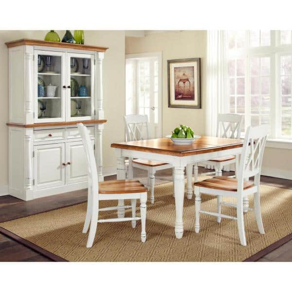 Homestyles Monarch Rubbed White Dining, White Dining Room Table And Hutch
