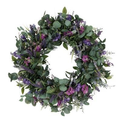 30 in. Artificial Lavender and Eucalyptus Floral Spring Wreath