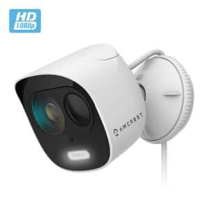 SmartHome 1080p Wired Outdoor Wi-Fi Security Camera with Spotlight, Built-in Siren Alarm, Strobe Light, 2-Way Audio