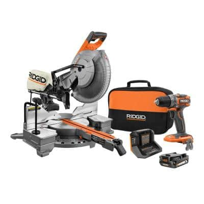 15 Amp Corded 12 in. Dual Bevel Sliding Miter Saw with 18V SubCompact Brushless Drill/Driver, Batteries, Charger, & Bag