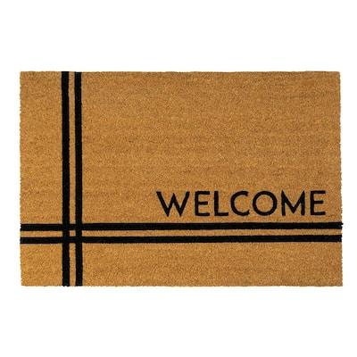 Crisscross Welcome 36 in. x 24 in. Coir Door Mat