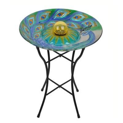Outdoor 18 in. Solar Glass Birdbath - Peacock
