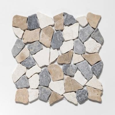 Fit Tile Tan/White/Grey 11-3/8 in. x 11-3/8 in. x 9.5 mm Indonesian Marble Mesh-Mounted Mosaic (10.01 sq. ft. / case)