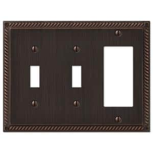 Georgian 3 Gang 2-Toggle and 1-Rocker Metal Wall Plate - Aged Bronze