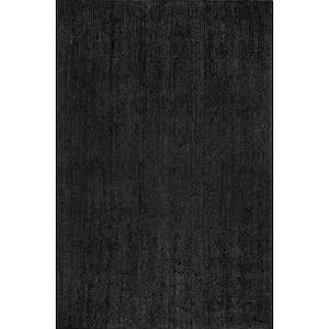 Rigo Chunky Loop Jute Black 8 ft. x 10 ft. Area Rug