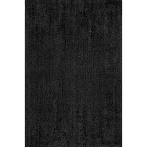 Rigo Chunky Loop Jute Black 9 ft. x 12 ft. Area Rug