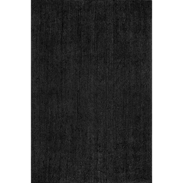 Nuloom Rigo Chunky Loop Jute Black 9 Ft X 12 Ft Area Rug Tajt03c 9012 The Home Depot