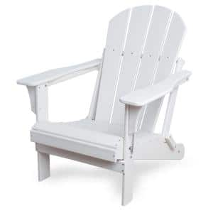 Addison White Folding Plastic Outdoor Adirondack Chair