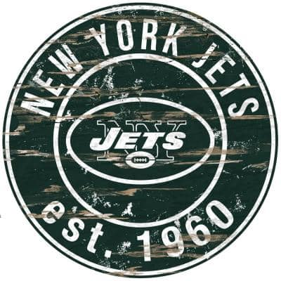 """24"""" NFL New York Jets Round Distressed Sign"""