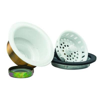 3-1/2 in. Post Style Basket Strainer with Nut and Washer in White