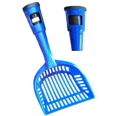 Blue Poopin-Scoopin Dog and Cat Pooper Scooper Litter Shovel with Built-In Waste Bag Handle Holster