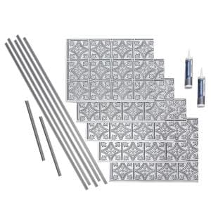 Traditional 1 18 in. x 24 in. Argent Silver Vinyl Decorative Wall Tile Backsplash 15 sq. ft. Kit