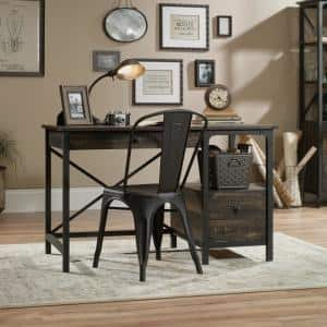 48 in. Rectangular Carbon Oak 2 Drawer Writing Desk with Built-In Storage