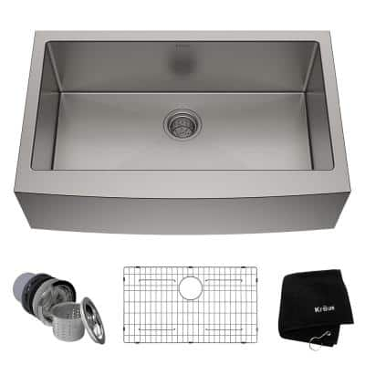 Standart PRO Farmhouse Apron-Front Stainless Steel 33 in. Single Bowl Kitchen Sink