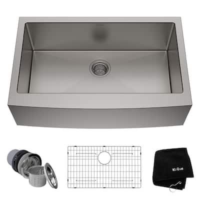 Standart PRO Farmhouse Apron-Front Stainless Steel 33 in. Single Bowl Kitchen Sink