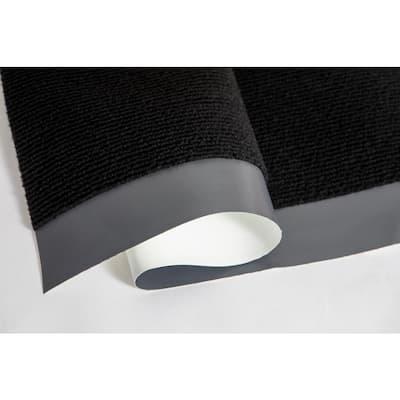 8-1/2 ft. W x 17 ft. L Black Rib Non Slip Polyester Flooring Roll