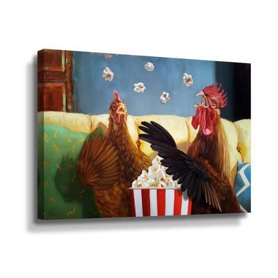 'Popcorn chickens' by  Lucia Heffernan Canvas Wall Art
