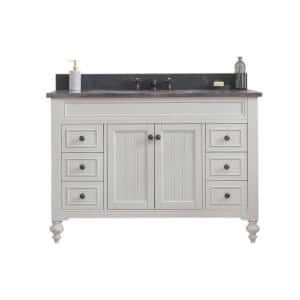 Potenza 48 in. W x 33 in. H Vanity in Ivory Grey with Granite Vanity Top in Blue Limestone with White Basin