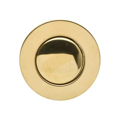"Bathroom Pop-Up Drain with Ball Rod, Gray ABS Body w/ Overflow, 1.6-2"" Sink Hole, Polished Brass"