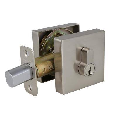 Emblem Square Satin Nickel Single Cylinder Deadbolt