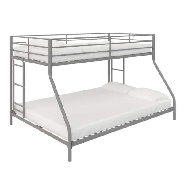 Dhp Fulton Silver Metal Twin Over Full Bunk Bed De61532 The Home Depot