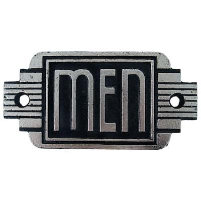 2.5 in. x 5 in. Streamlined Art Deco Cast Iron Men's Room Door Sign