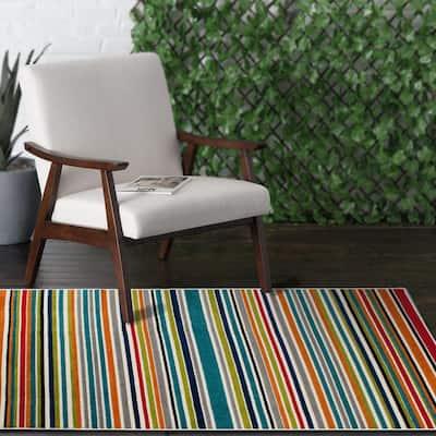 Patio Brights Multi 3 ft. 3 in. x 5 ft. Stripe Indoor/Outdoor Area Rug