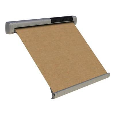 8 ft. Solar Powered Home Window Retractable Smart Awning, Stone Grey Case, Mocha Tweed Fabric