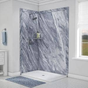 Elegance 36 in. x 48 in. x 80 in. 7-Piece Easy Up Adhesive Corner Shower Wall Surround in Beaumont