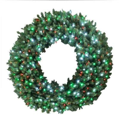 60 in. Christmas Bright Spruce Artificial Wreath with Red, Green, Cool White Lights