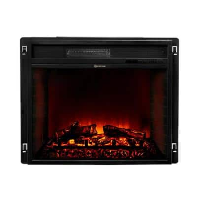 26 in. 1500-Watt Black Electric Firebox Fireplace Heater Insert Glass Panel with Remote Control