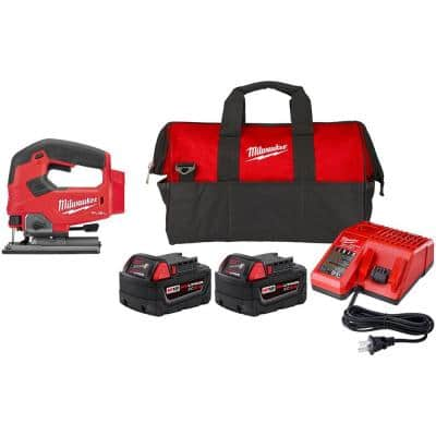 M18 FUEL 18-Volt Lithium-Ion Brushless Cordless Jig Saw and Starter Kit with (2) Batteries, Charger, and Tool Bag