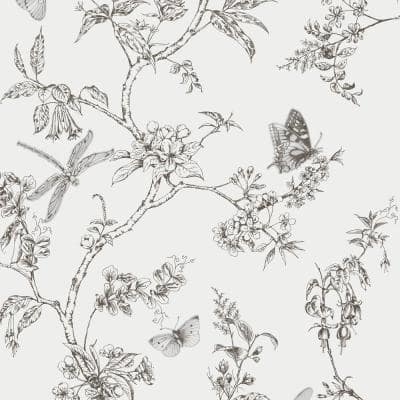 White Mica Vinyl Non-Pasted Moisture Resistant Wallpaper Roll (Covers 56 Sq. Ft.)
