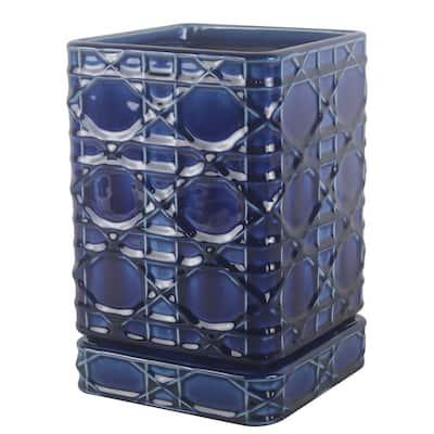 6 in. Cobalt Blue Carlysle Square Ceramic Planter