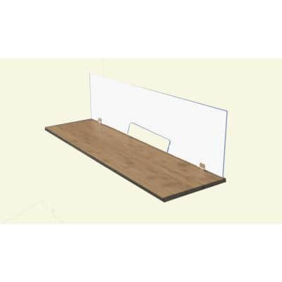 Sneeze Guard 36 in. x 60 in. x 0.25 in. Clear Acrylic Protection Shield with Alum Desk Clamp Brackets and Pass Through